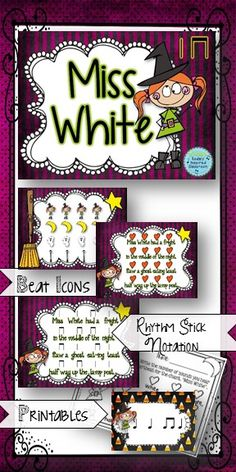 """Miss White had a Fright - A chant for the elementary music class that is perfect for Halloween. Use this chant to prepare/present/practice steady beat, rhythm as """"the way the words go"""", and ta and titi rhythms. #musicedchat #kodaly #orff #halloweenmusic #elemused"""