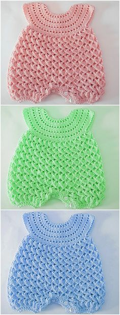 Fast And Easy Baby Romper - Crochet Ideas Fast And. - Fast And Easy Baby Romper – Crochet Ideas Fast And Easy Baby Romper - Crochet Crafts, Crochet Projects, Free Crochet, Knit Crochet, Crochet Romper, Diy Projects, Easy Crochet, Knitting Projects, Baby Knitting Patterns