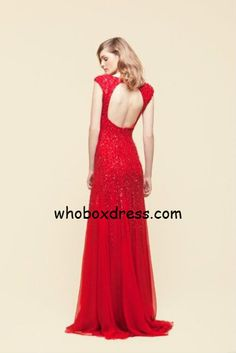 Red key hole prom dress