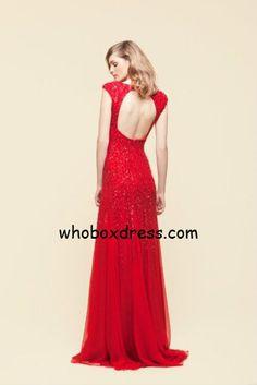 Red key hole prom dress