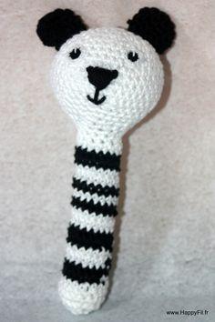 Hochet au crochet panda en coton : Jeux, peluches, doudous par happyfil