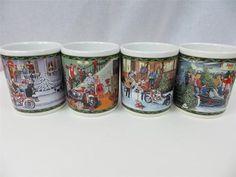 Harley Davidson Christmas Coffee Mug Set of Four Tree Motorcycle Snow Holidays | eBay