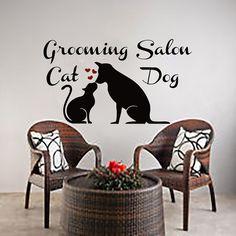 Wall Decals  Dog Cat Grooming Salon Decal Vinyl Sticker Pet Shop Heart Home Decor Interior Design Bedroom Window Hall Art Mural MN615