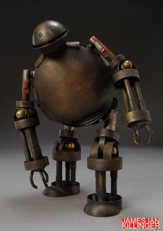 """808B1E by James Ian Killinger at Coroflot - Inspired by comic books, sci-fi movies, and the burgeoning """"art toy"""" movement, this little guy is a fusion of traditional metal-smithing techniques and modern obsessions."""