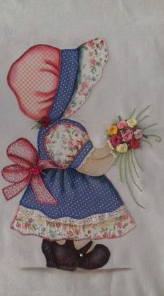 An Idea to go with Sunbonnet Sue .My Sunbonnet girls. Quilt Patterns Free, Applique Patterns, Applique Quilts, Applique Designs, Quilting Designs, Machine Embroidery Designs, Hand Embroidery, Patchwork Quilting, Machine Applique