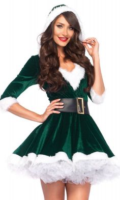 fe545313fa0 Leg Avenue 85356 Cutie Elf Christmas Costume with Hooded Dress   Belt