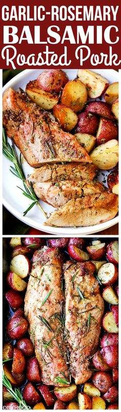Garlic and Rosemary Balsamic Roasted Pork Loin – Easy to make, flavorful, incredibly tender pork loin rubbed with a Garlic and Rosemary Balsamic mixture makes for a crowd pleasing dinner with very little effort.