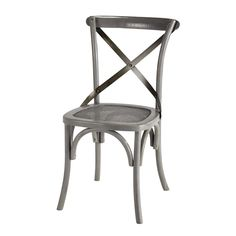 Rattan and metal chair in grey