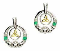 Shanore Claddagh Silver Emerald Diamond Earrings