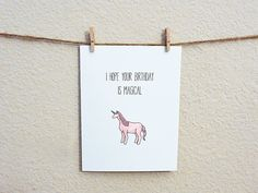 I Hope Your Birthday Is Magical unicorn watercolor card 100% recycled by Wander Design, $3.00