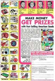 """Make Money, Get Prizes...with Fast Selling American Seeds"" - 1960's American Seed Company ad"