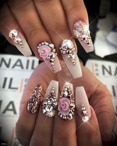 18 Beautiful Nail Designs for Summer - Nail Art Design French Manicure Unique Nails Design Pics Unique Manicure Prices French Manicure Fashion Nail Designs Bling, Nail Polish Designs, Cute Nail Designs, Acrylic Nail Designs, Nails Design, Diamond Nail Designs, 3d Acrylic Nails, Ongles Bling Bling, Rhinestone Nails