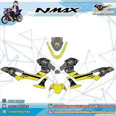 Custom Striping Motor Full Body Yamaha NMAX Thema Element Grey Yellow Stabillo Rossi Berkualitas by DIGITIVE
