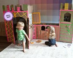 DIY cardboard castle: a project for adam! Cardboard Forts, Cardboard Box Crafts, Cardboard Castle, Projects For Kids, Diy For Kids, Crafts For Kids, Project Ideas, Indoor Activities, Craft Activities