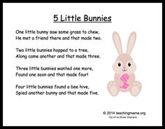 5 Little Bunnies Chant- fantastic easter song and also, great for practicing counting! 5 Little Bunnies Chant- fantastic easter song and also, great for practicing counting! Easter Poems, Easter Art, Easter Crafts For Kids, Easter Songs For Kids, April Easter, Easter Bunny, Easter Activities, Spring Activities, Preschool Activities