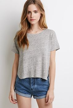 Boxy Heathered Linen Tee | Forever 21 - 2000077657