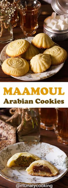 Maamoul is an Arabian cookie made of semolina and filled with pistachio or dates. Melts in your mouth and is easy to make. Watch the video in the post to learn how to make and shape the cookies. #maamoul #arabiandessert #dessertrecipe #recipe #middleeasterndessert Kinds Of Desserts, Easy Desserts, Best Dessert Recipes, Sweet Recipes, Maamoul Recipe, Middle Eastern Desserts, Easy Bread, Pistachio, Dates