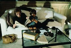 """John, photographed with his son Sean in their living room at the Dakota. """"They were obviously a tightly knit family,"""" Shinoyama says. Photograph by Kishin Shinoyama."""