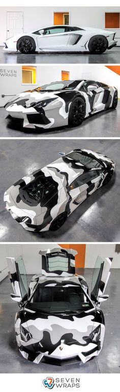 #Lamborghini Aventador camo wrap by Seven Wraps wrapped with Avery Dennison Supreme Wrapping Film gloss grey and gloss #black.
