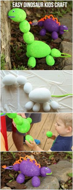 These foam dinosaurs would make an awesome dinosaur kids craft, perfect for a dinosaur birthday party idea, letter D activities, or someone who just loves dinosaurs! #MakeItFunCrafts