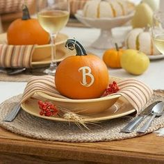 DIY pumpkin place setting