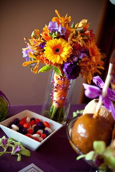 (very) orange and purple bouquet