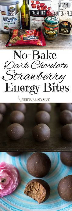 No-Bake Dark Chocolate Strawberry Energy Bites-clean eating recipe-made with delicious dark chocolate, vegan protein powder, cashew butter, freeze dried strawberries, maple syrup and fig balsamic. Easy, healthy & delicious recipe.