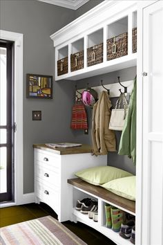 Mudroom I like the drawers near the door, hooks, cubbies above, bench and…
