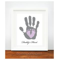 Baby Footprint & Dad Hand by PitterPatterPrint