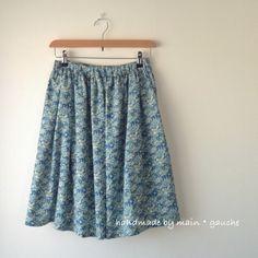 小花柄ローン地ギャザースカート(青) - main・gauche