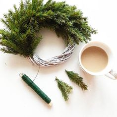 Huomenet ♡ #havukranssi #diy #kiireetönaamu #lauantai #aamukahvi #saturday #morning #coffee #goodmorning #greengate Winter Christmas, Xmas, Shops, Photoshop, Flower Arrangements, Diy Projects, Herbs, Wreaths, Koti