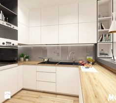Aranżacje wnętrz - Kuchnia: Tamka 29- I propozycja - Mała otwarta kuchnia w kształcie litery u w aneksie, styl skandynawski - MOTIF. Przeglądaj, dodawaj i zapisuj najlepsze zdjęcia, pomysły i inspiracje designerskie. W bazie mamy już prawie milion fotografii!