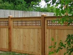 A version of craftsman style privacy fence using architectural lattice which is very nice.