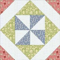 Pinwheel in a square tutorial