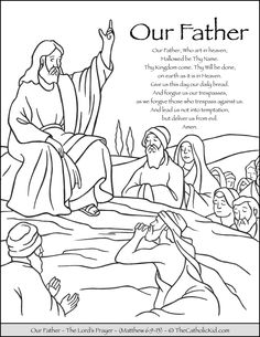 Lords Prayer Coloring Page the Lord S Prayer Our Father Prayer Coloring Page Mothers Day Coloring Pages, Jesus Coloring Pages, Bible Verse Coloring Page, Free Adult Coloring Pages, Bible Coloring Pages, Coloring Pages For Girls, Catholic Our Father, Prayer For Fathers, Catholic Kids