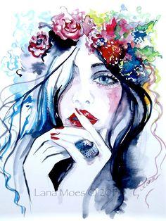 Fashion Illustration Fantasy Bohemian Girl peinture aquarelle par Lana