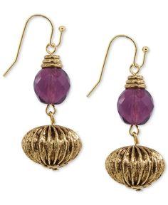 2028 Earrings, Gold-Tone Ribbed Bead Drop Earrings