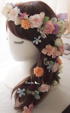 やさしい色合いのラプンツェルな花冠  Wedding Flower・ぽると のブログ