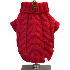 This trendy urban style sweater will keep your pooch warm and cozy during the cool days. Our soft cable knit sweater features a turtleneck with unique button detail, a perfect addition to a chic wardrobe. This must-have sweater is available in five (5) vibrant colors.