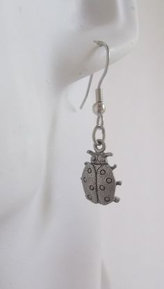 Ladybug Pewter Charm Earrings by ShadowoftheCross on Etsy