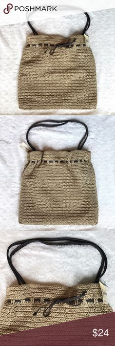 "Eddie Bauer Straw Tote NWT Eddie Bauer Straw Tote with leather handles and functional leather drawstring to cinch Tote. 16"" W x 16"" H x 3"" D. Eddie Bauer Bags Totes"