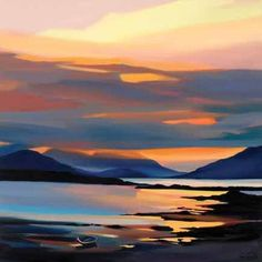 Red on the Cuillins - Pam Carter (Signed Limited Edition Print) - £113.00 - Red On The Cuillins Pam Carter Signed Limited Edition Print - Prints & Artwork