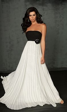 Picture of Empire Strapless Chiffon Black White Evening Gowns, Long Black and White Dresses