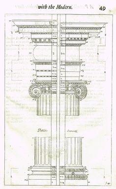 "Freart's Ancient Architecture - ""PALLADIO - SCAMOZZI - F:45"" - Copper Engraving - 1728"