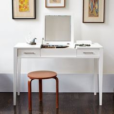 Narrow-Leg Vanity from West Elm. Saved to Home: New Bedroom! Shop more products from West Elm on Wanelo. Diy Vanity Table, Modern Vanity Table, Vanity Desk, Mirrored Vanity, West Elm, Bedroom Makeup Vanity, Makeup Vanities, Makeup Rooms, Bathroom Vanities