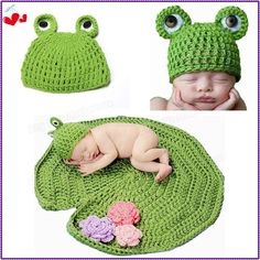 Прекрасный милый ребенок младенческой новорожденных ручной вязание крючком вязаная шапка зеленая лягушка шляпа + пододеяльник костюм установить фотография опоры 0 - 6 месяцев HA002