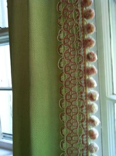 detail on drapes - two different trims, layered.