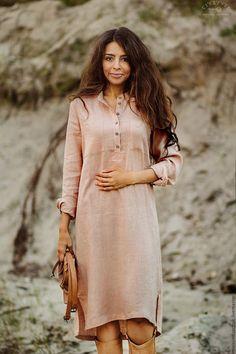 """Купить Платье- рубашка"""" Замки из песка"""" - однотонный, бежевый, льняное платье, платье-рубашка"""