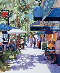 Watercolor painting by Edie Fagan of Park Avenue, Winter Park, Florida