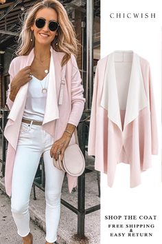 Free Shipping & Easy Return. Up to 30% Off. Soft Blush Ribbed Hem Drape Cardigan featured by karinastylediaries Stitch Fit, Winter Wardrobe, Fancy, Tops, Style, Bell Sleeve Top, Wardrobe Ideas, Fashion, Swag